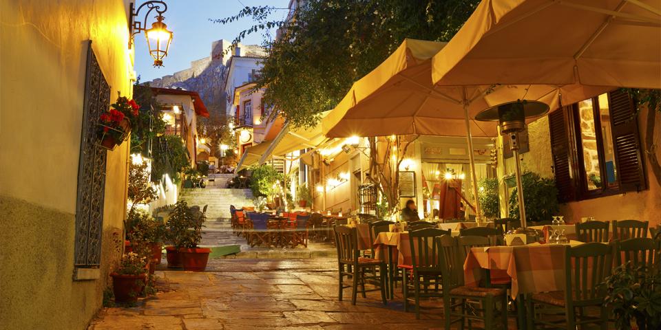 Aftenstemning i centrum af Athen.
