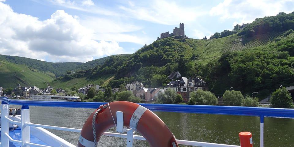 Udsigt fra soldækket på MS Arlene - Krydstogt på Mosel og Rhinen