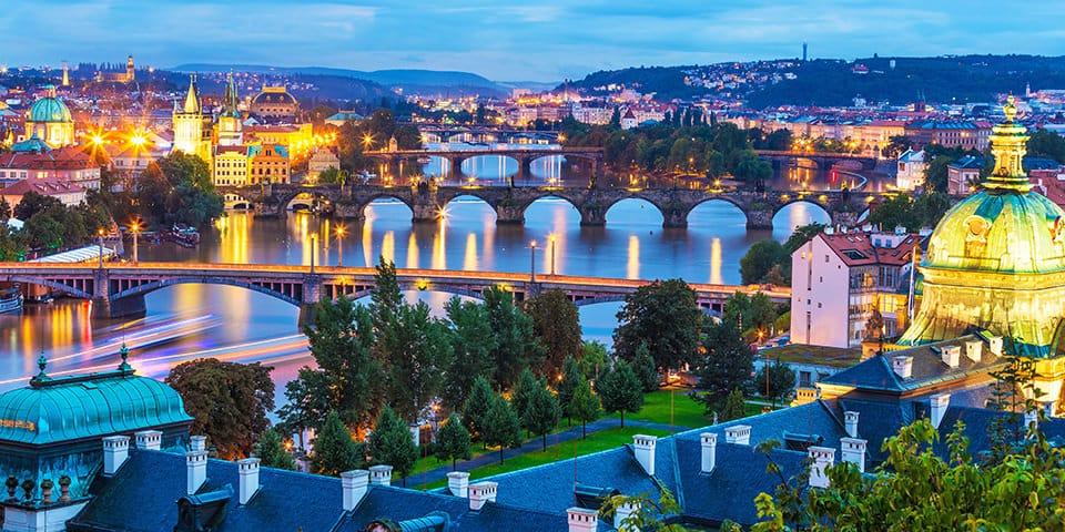 Moldau i aftenlys - Prag