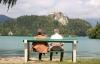 Udsigten ved Bled sø er fantastisk.