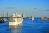 Krydstogtskib i Miami havn.