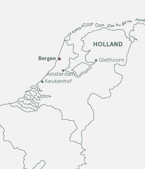 Kort over Holland - Blomsterrejser til Holland
