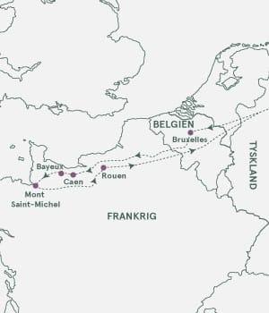 Kort over Frankrig, Belgien, Tyskland