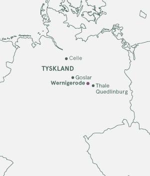 Kort over Tyskland, Harzen og Wernigerode