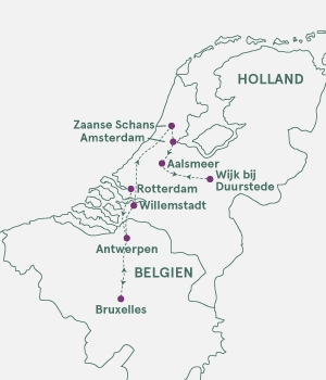 Kort over Blomsterkrydstogt til Holland og Belgien.
