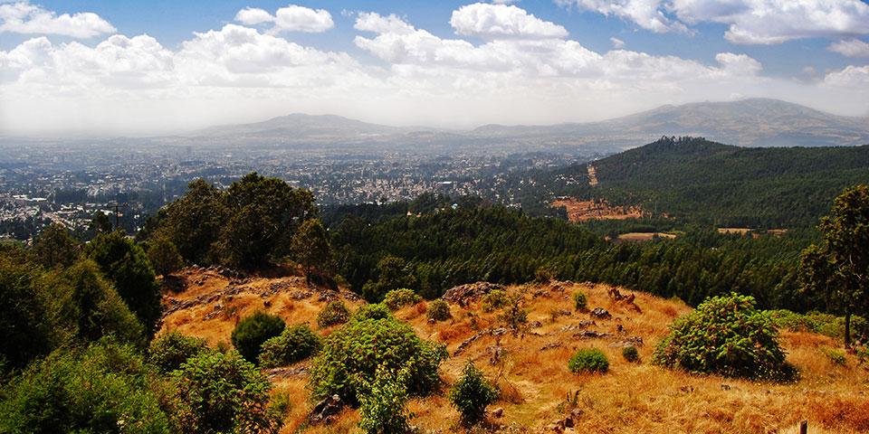 Udsigten fra Entoto-bjergene med Addis Ababa i baggrunden.