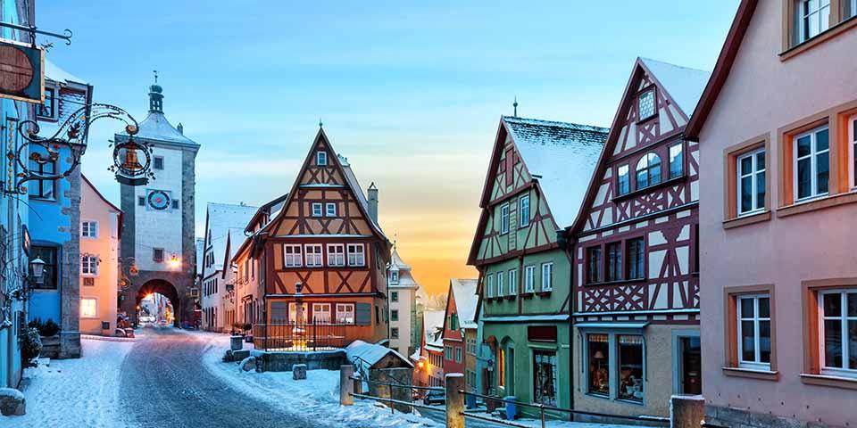 Vinteridyl i Rothenburg ob der Tauber.