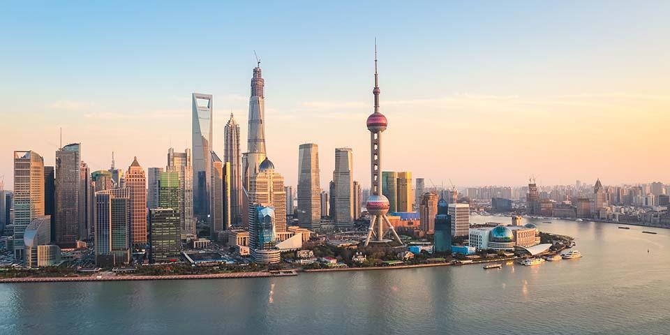 Shanghais skyline ser helt futuristisk ud.