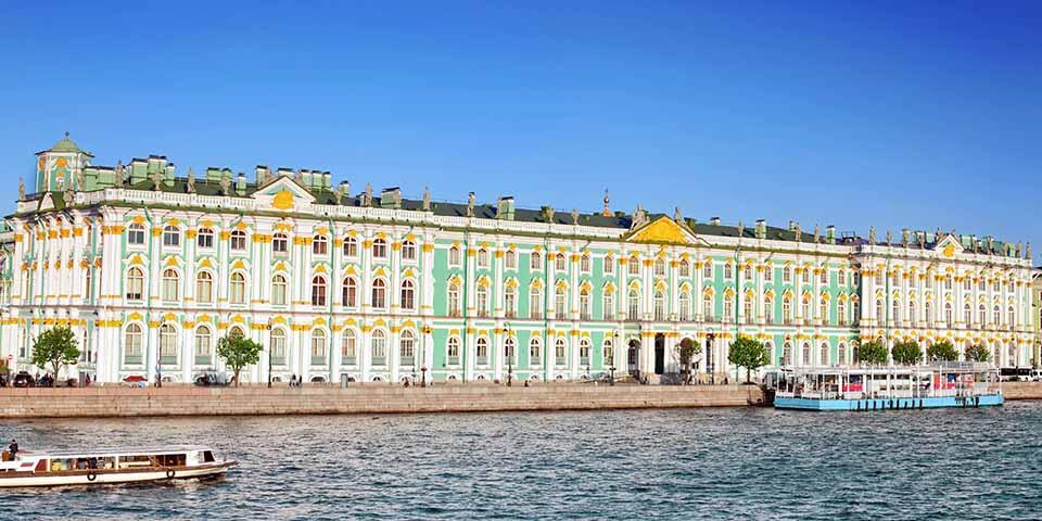 Vinterpaladset, der indtil 1917 fungerede som den officielle residens for de russiske zarer.