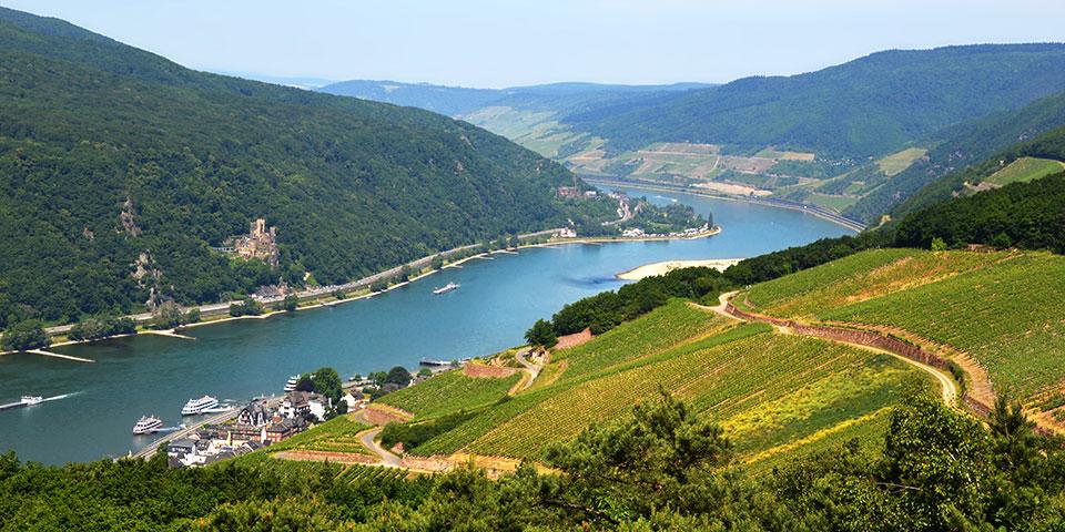 Landskabet er smukt omkring Den Romantiske Rhin.