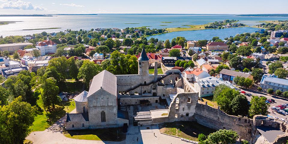 Kig ud over Haapsalu med slottet i forgrunden.