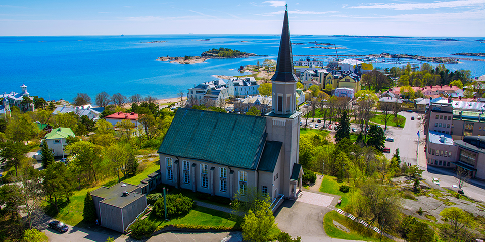Kirken i den finske kystby Hanko.