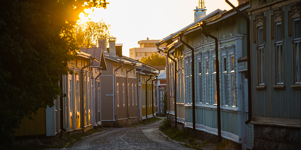 Gade i den UNESCO-fredede by Rauma.