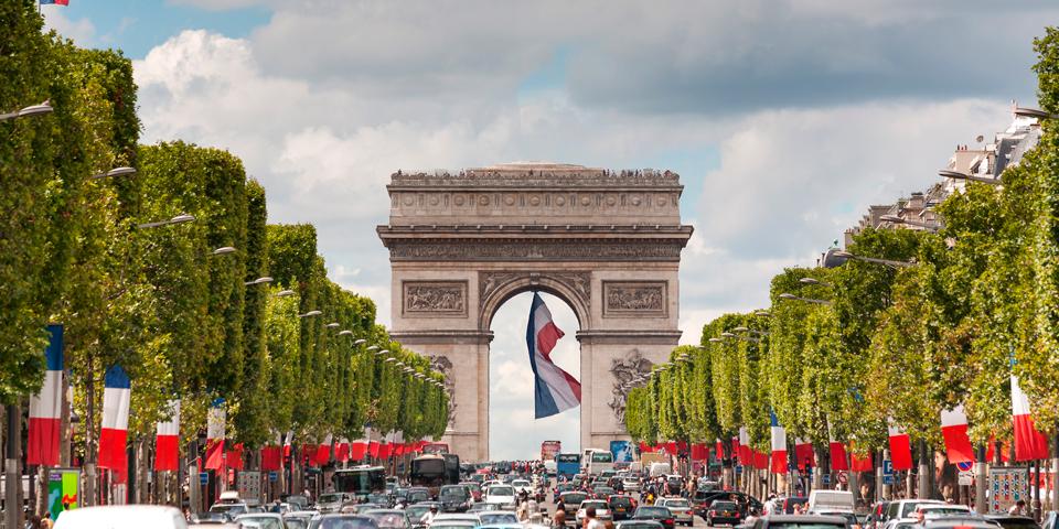 Den smukke triumfbue på Champs-Elysees.