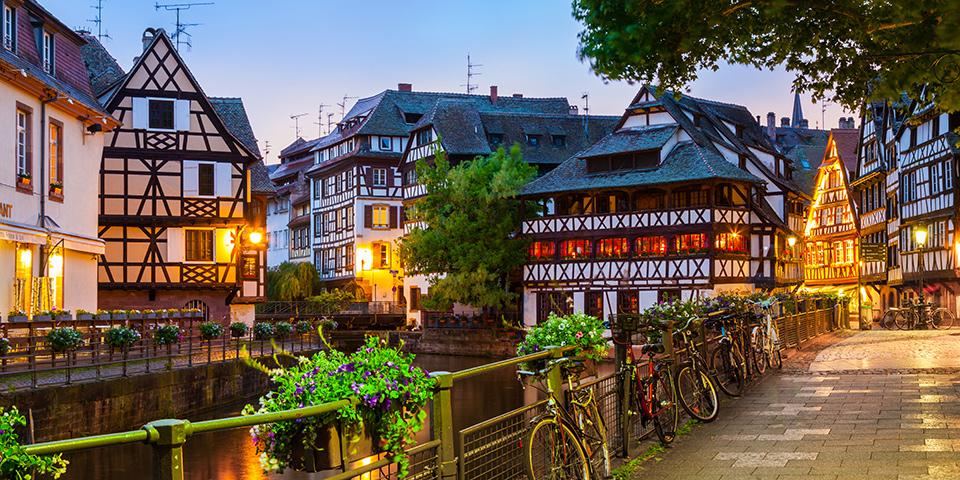 Aftenstemning i Petite France i Strasbourg.