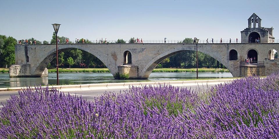 Den berømte bro Pont St- Benezet i Avignon.