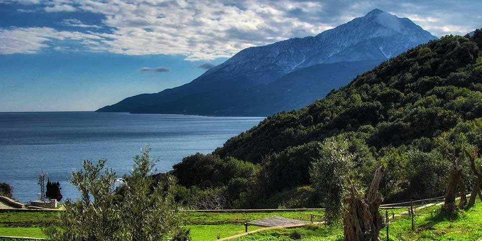 Athos-bjerget ved halvøen Halkidiki.