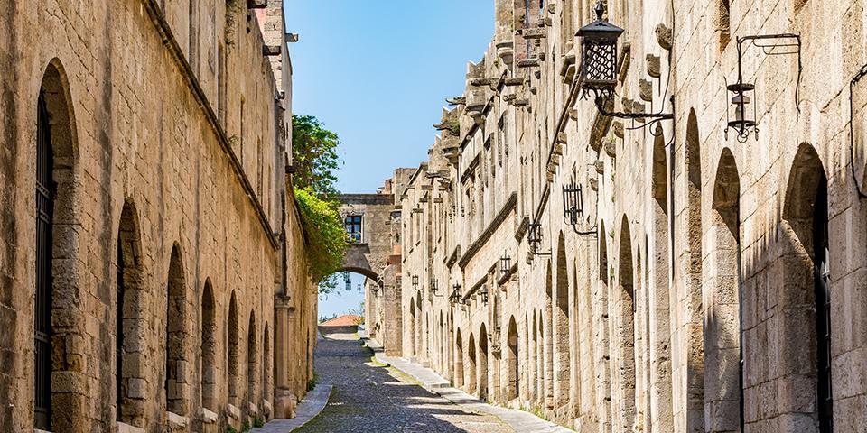 Riddernes Gade i den gamle bydel i Rhodos by.