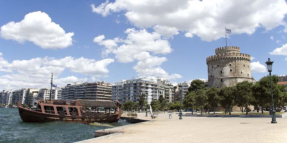 Det hvide tårn på havnen i Thessaloniki.