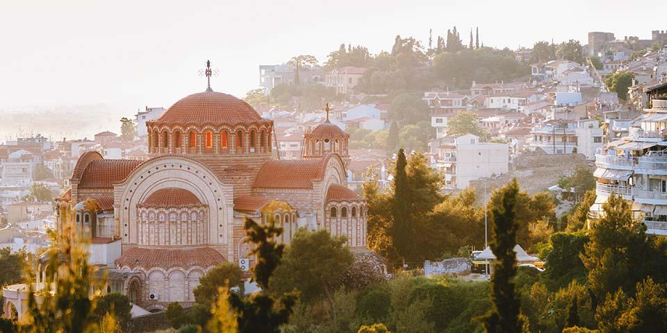 Udsigten over Thessaloniki med kirken St. Paul.