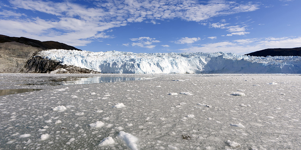 Eqip Sermia, Eqi, den kælvende gletsjer.