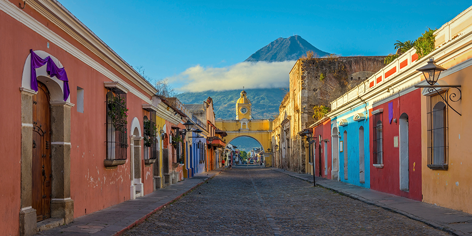 Charmerende og historiske Antigua i Guatemala.