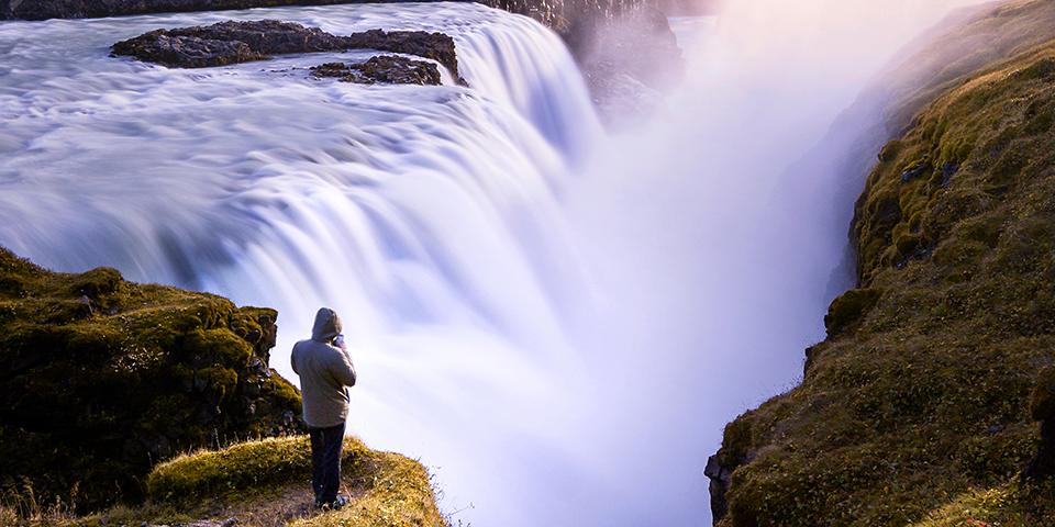 Det berømte og fantastiske vandfald Gullfoss.