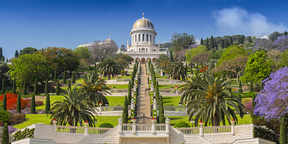 Bahaitemplet med den flotte persiske have i Haifa.