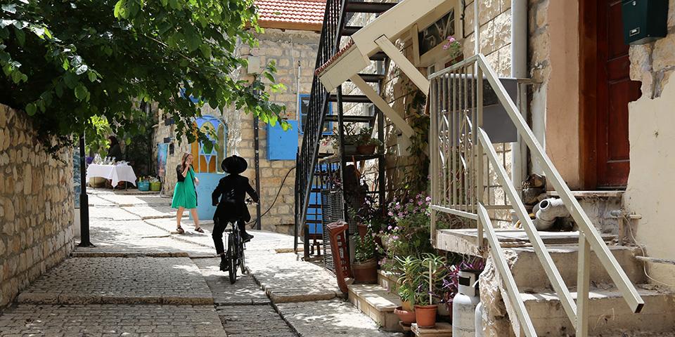 Snævre, charmerende gader i Safed.