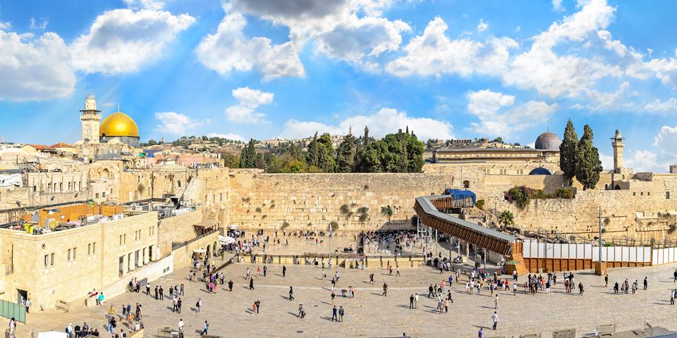 Grædemuren og Tempelbjerget i Jerusalem.