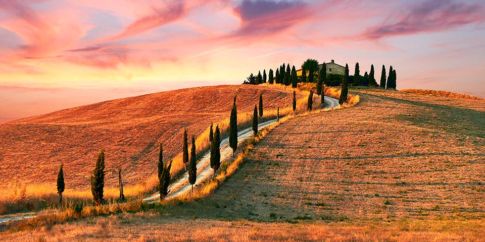 Toscanas bølgende landskaber.