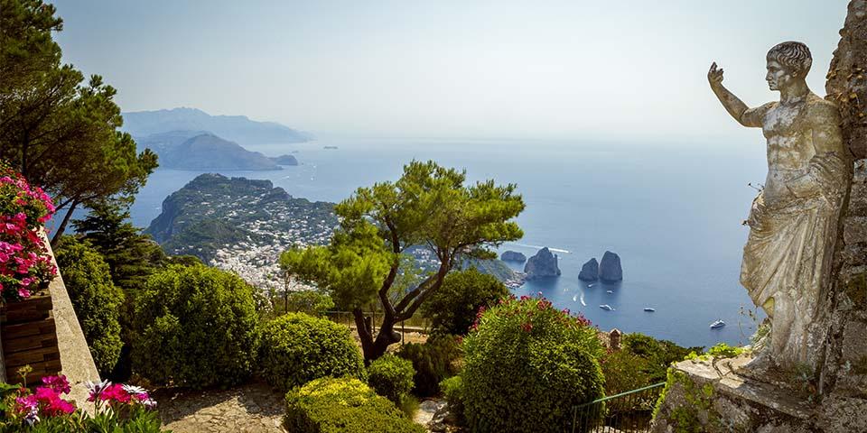 Den flotte udsigt fra Augustus Have på Capri.
