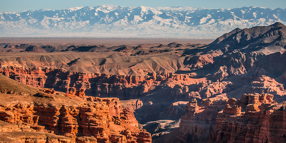 De smukke rødbrune klipper i Charyn Canyon.