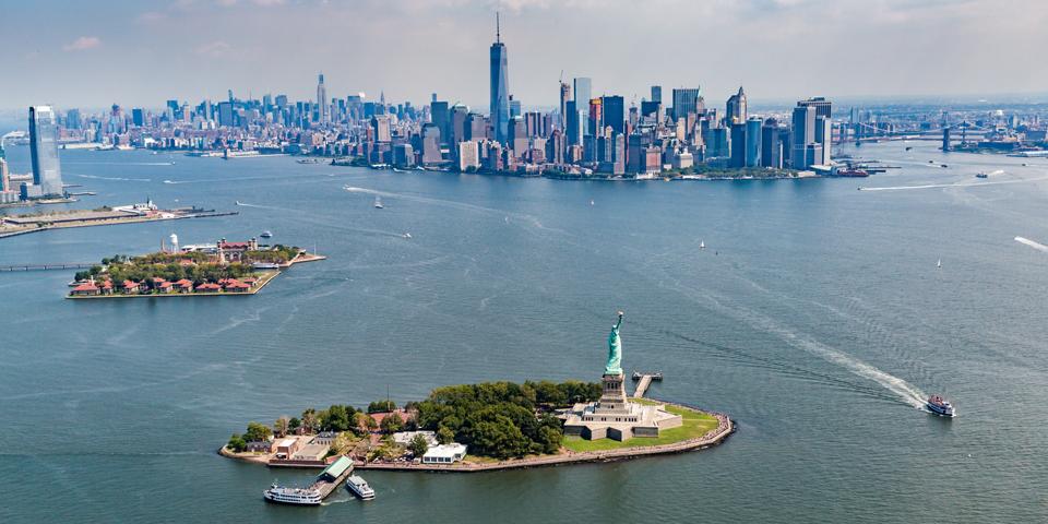 Liberty-, Ellis- og Manhattan Island.