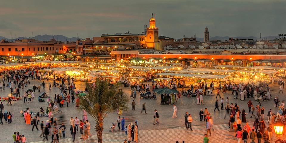 Djemaa al-Fna pladsen i Marrakech.