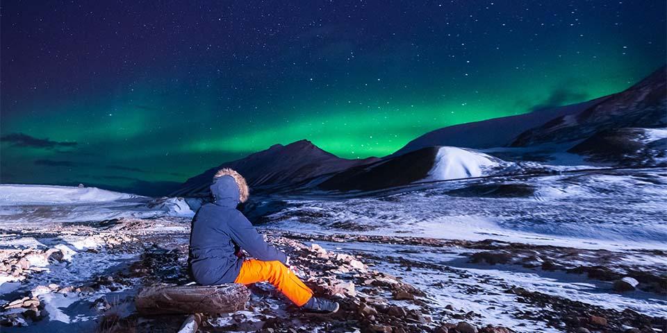 Nordlys over Svalbard.