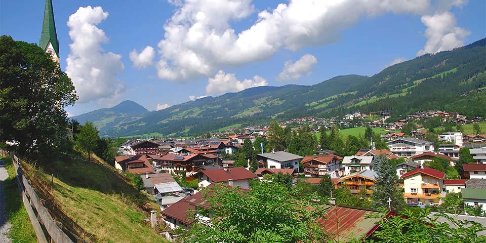 Landsbyen Kirchberg, hvor vores hotel Kirchenwirt ligger.