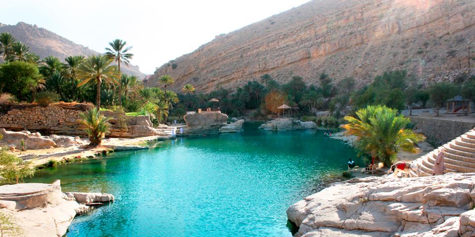Den idylliske oase Wadi Bani Khalid.