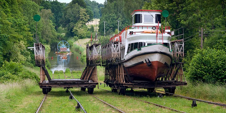 Den specielle konstruktion ved Elblag-kanalen.