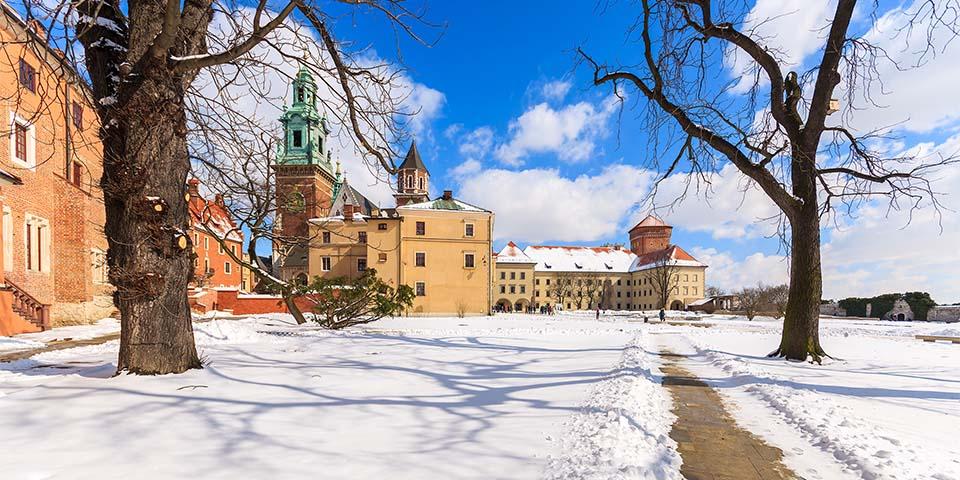 Wawel-slottet med katadralen, hvor de polske konger blev kronet.