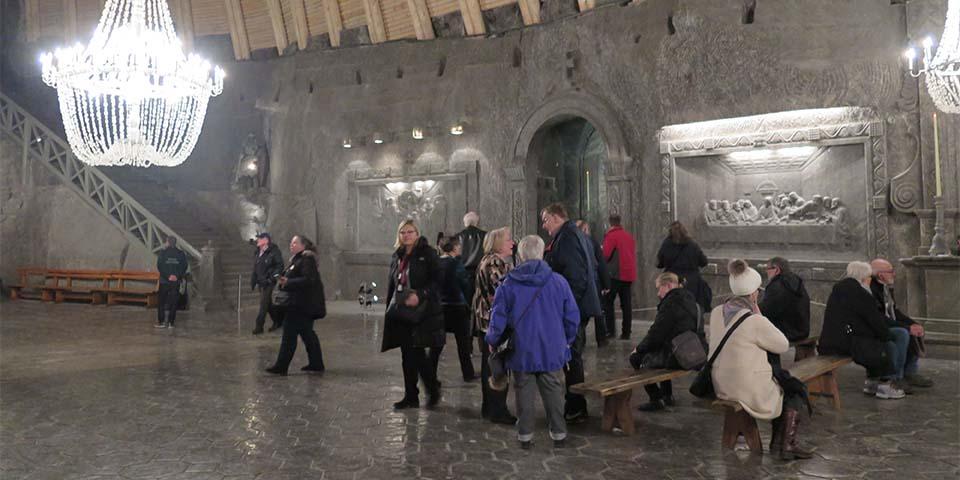 Oplev blandt andet den store sal i Wieliczka-saltminerne.