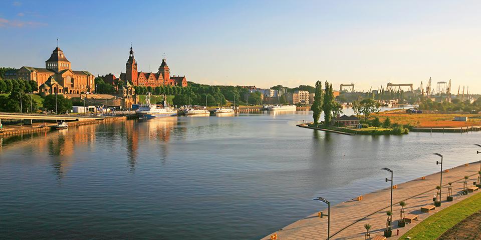 Udsigt over den polske by Stettin.