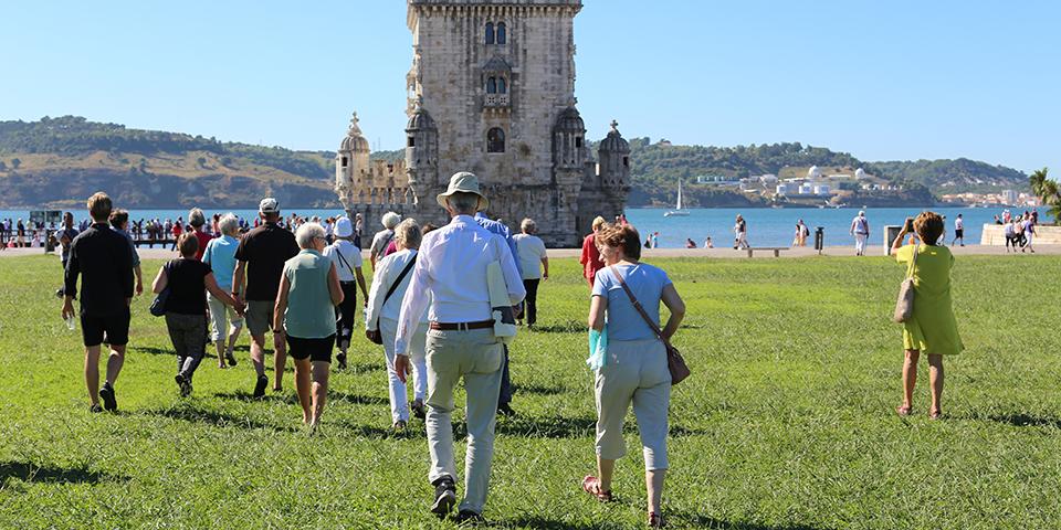 På vej mod Belemtårnet i Lissabon.