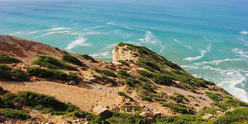 De forstenede fodspor i klipperne ved Cabo Espichel.