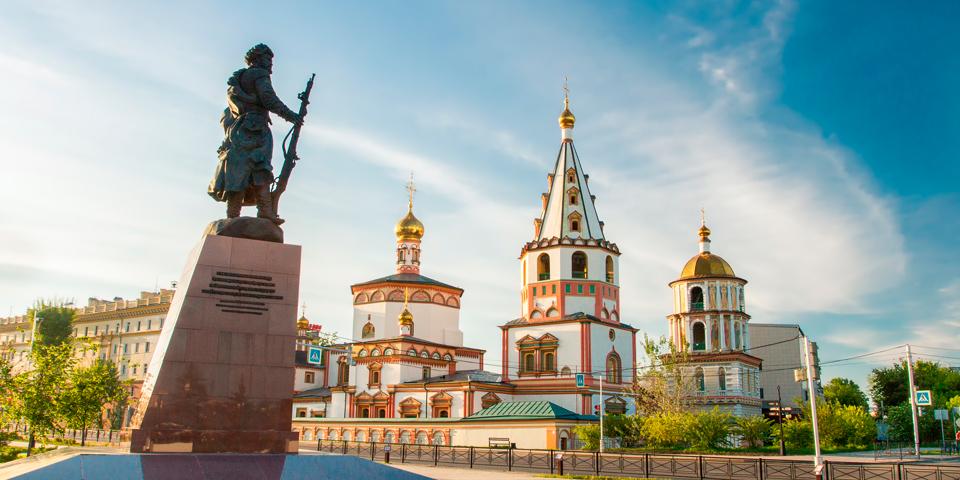 En af de mange flotte kirker i Irkutsk.