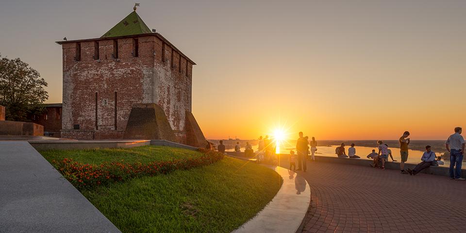 Solnedgang i Nizjnij Novgorod - Ruslands 4. største by.