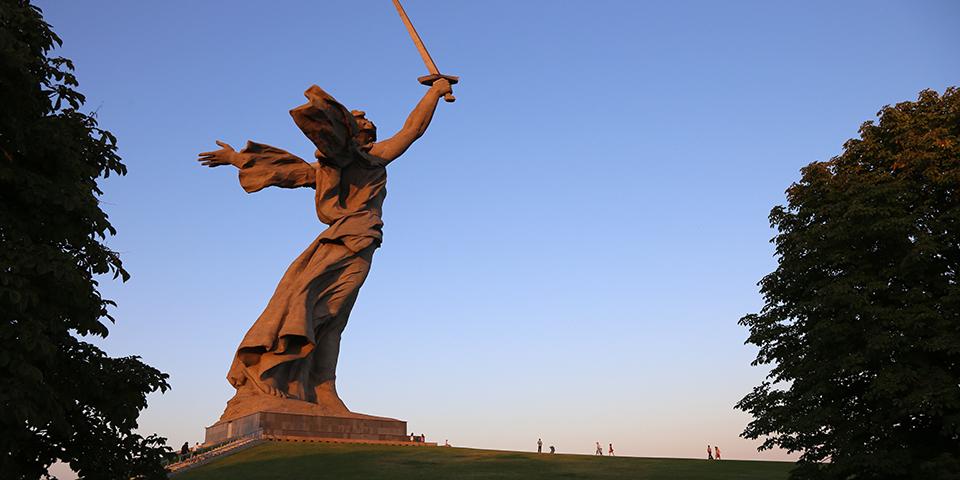 Den ikoniske statue Moder Rusland.