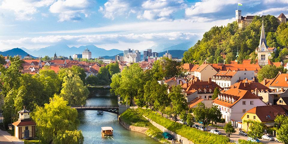 Sloveniens hyggelige hovedstad Ljubljana.