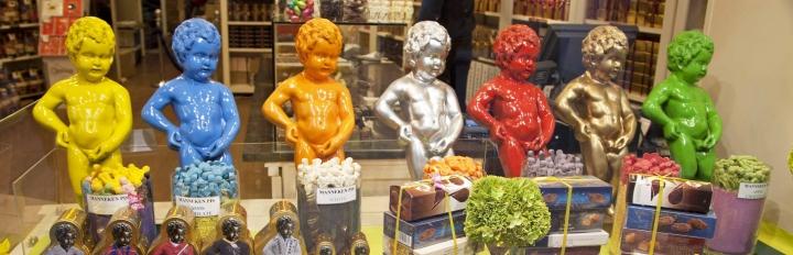 Manneken Piss i Chokoladeforretning i Belgien.