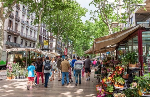 Den berømte gade La Rambla.